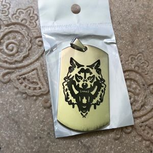 New silver Wolf dog tag stainless steel etched